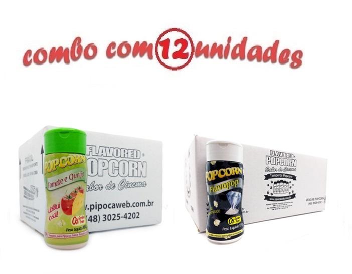 TEMPEROS P/ PIPOCA - Cx 12 FRASCOS - 06 TOMATE E QUEIJO - 06 FLAVAPOP MANTEIGA