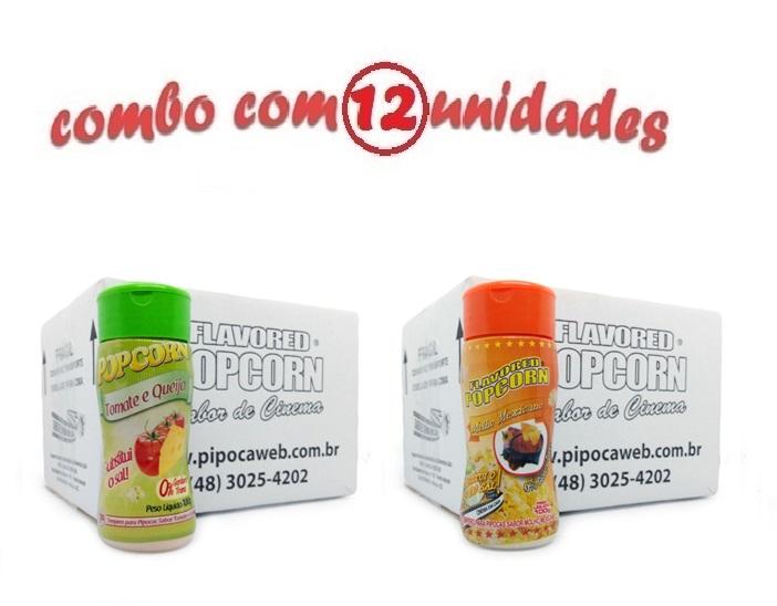 TEMPEROS P/ PIPOCA - Cx 12 FRASCOS - 6 TOMATE E QUEIJO - 6 MOLHO MEXICANO