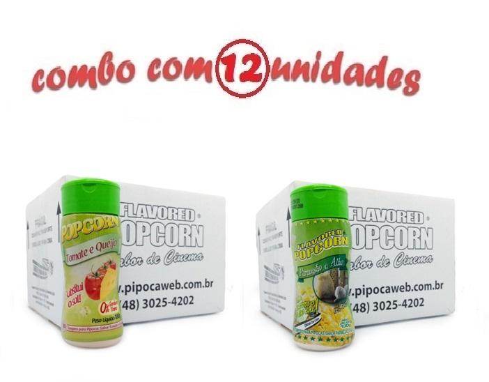 TEMPEROS P/ PIPOCA - Cx 12 FRASCOS - 6 TOMATE E QUEIJO - 6 PARMESÃO E ALHO