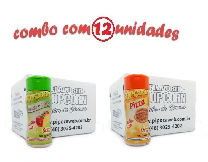 TEMPEROS P/ PIPOCA - Cx 12 FRASCOS - 6 TOMATE E QUEIJO - 6 PIZZA