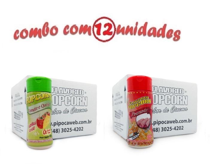 TEMPEROS P/ PIPOCA - Cx 12 FRASCOS - 6 TOMATE E QUEIJO - 6 PRESUNTO