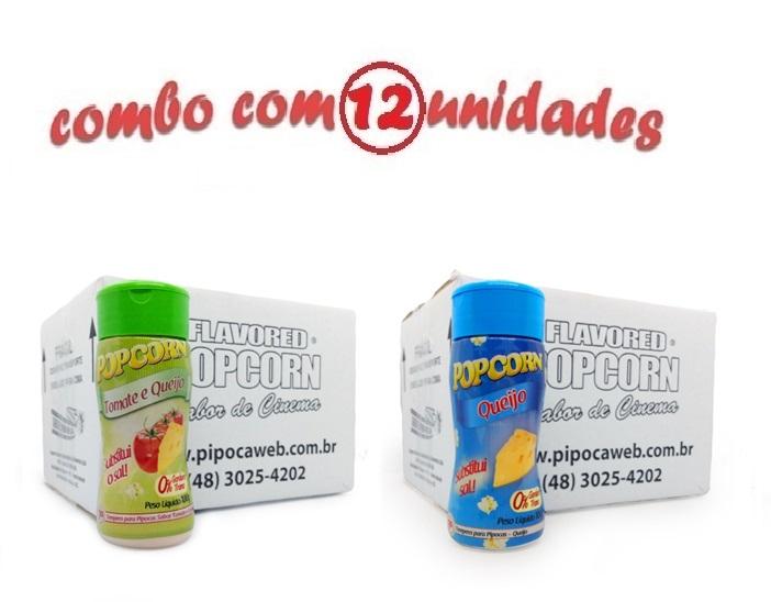 TEMPEROS P/ PIPOCA - Cx 12 FRASCOS - 6 TOMATE E QUEIJO - 6 QUEIJO