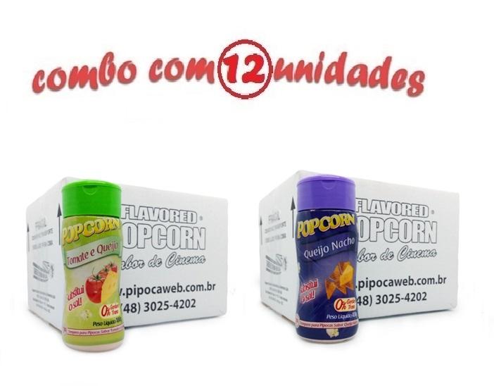 TEMPEROS P/ PIPOCA - Cx 12 FRASCOS - 6 TOMATE E QUEIJO - 6 QUEIJO NACHO