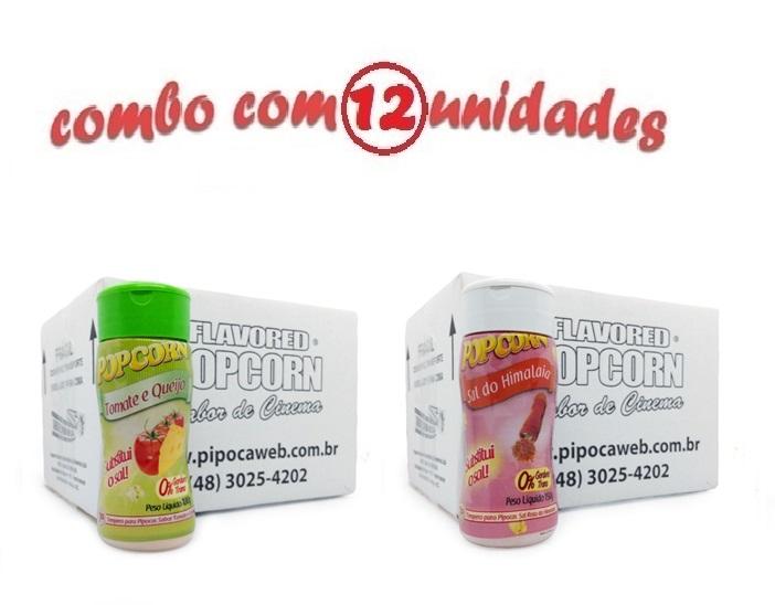 TEMPEROS P/ PIPOCA - Cx 12 FRASCOS - 6 TOMATE E QUEIJO - 6 SAL DO HIMALAIA
