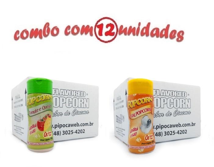 TEMPEROS P/ PIPOCA - Cx 12 FRASCOS - 6 TOMATE E QUEIJO - 6 SAL POPCORN