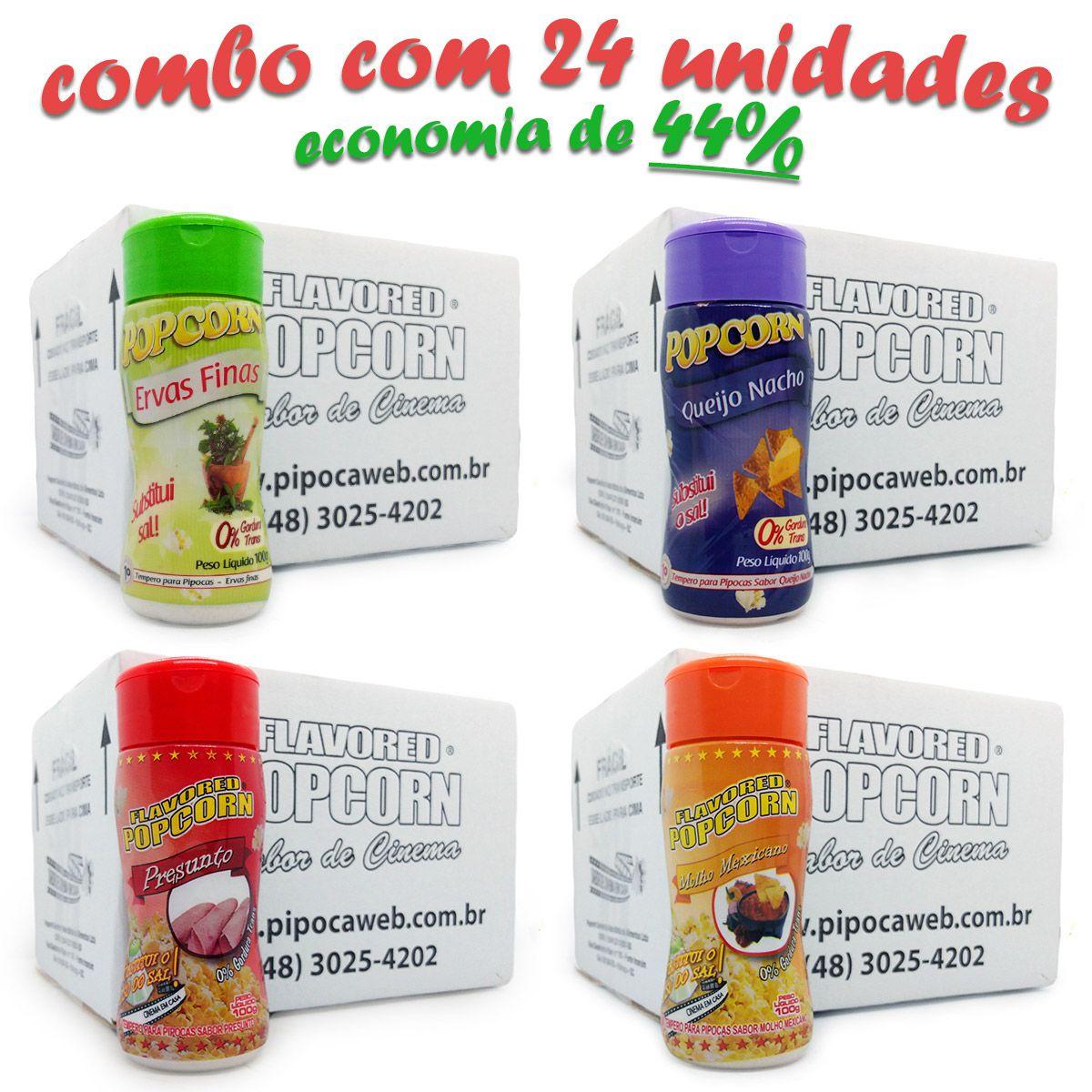 TEMPEROS P/ PIPOCA - Cx  24 FRASCOS - 06 QUEIJO NACHO - 06 MOLHO MEXICANO - 06 PRESUNTO - 06 ERVAS FINAS Preço Un. R$ 6,69 UN