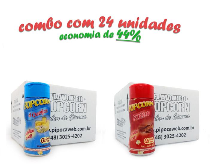 TEMPEROS P/ PIPOCA - Cx 24 FRASCOS - 12 4 QUEIJOS  -12 BACON