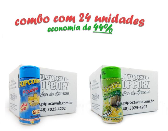TEMPEROS P/ PIPOCA - Cx 24 FRASCOS - 12 4 QUEIJOS  - 12 PARMESÃO E ALHO