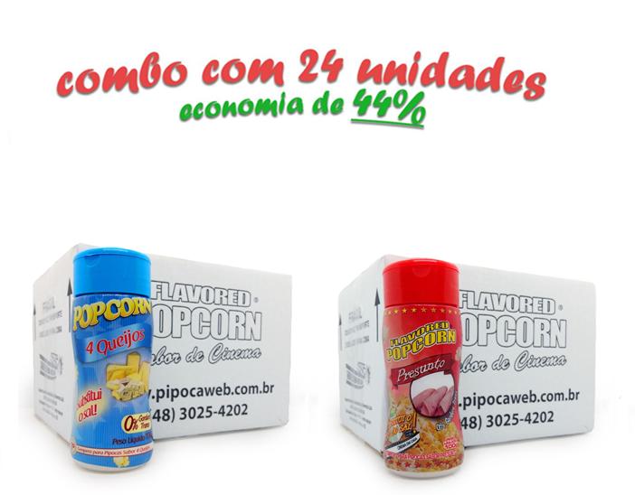 TEMPEROS P/ PIPOCA - Cx 24 FRASCOS - 12 4 QUEIJOS  - 12 PRESUNTO