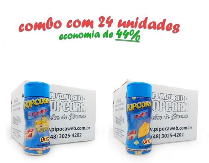 TEMPEROS P/ PIPOCA - Cx 24 FRASCOS - 12 4 QUEIJOS  - 12 QUEIJO