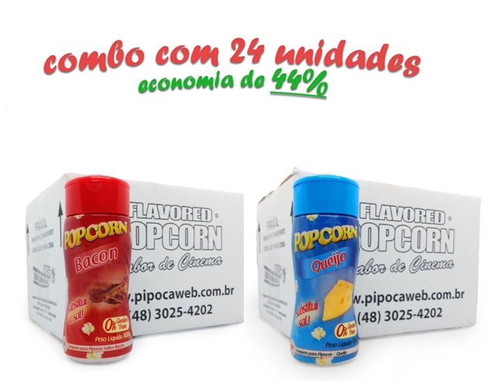 TEMPEROS P/ PIPOCA - Cx 24 FRASCOS - 12 BACON  -12 QUEIJO