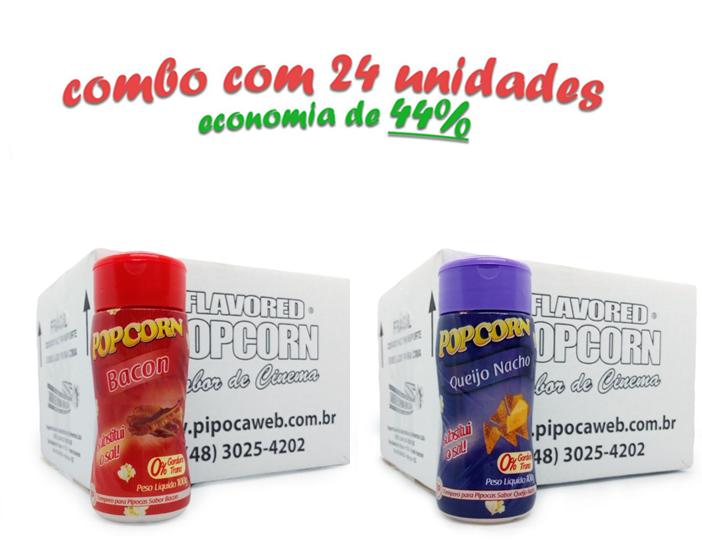 TEMPEROS P/ PIPOCA - Cx 24 FRASCOS - 12 BACON  - 12 QUEIJO NACHO