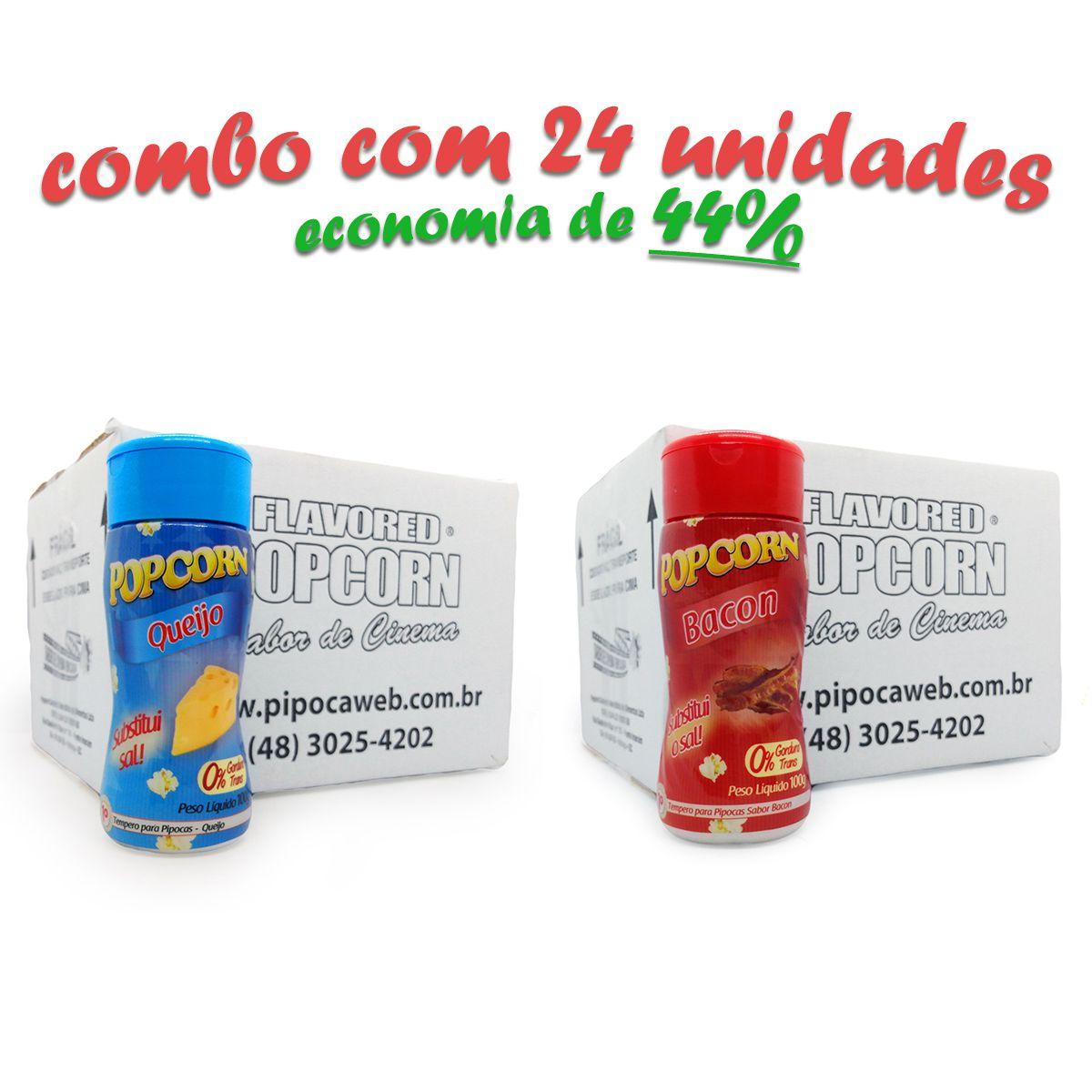 TEMPEROS P/ PIPOCA - CAIXA 24 FRASCOS - 12 BACON  -12 QUEIJO