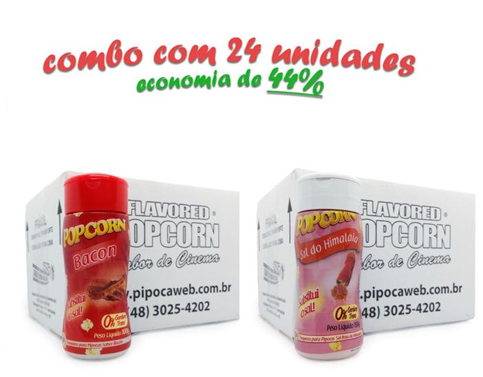 TEMPEROS P/ PIPOCA - Cx 24 FRASCOS - 12 BACON - 12 SAL DO HIMALAIA