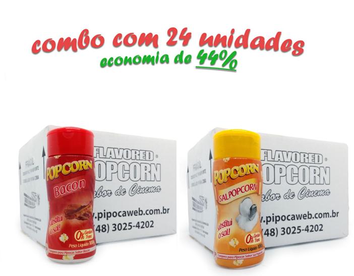 TEMPEROS P/ PIPOCA - Cx 24 FRASCOS - 12 BACON  -12 SAL POPCORN