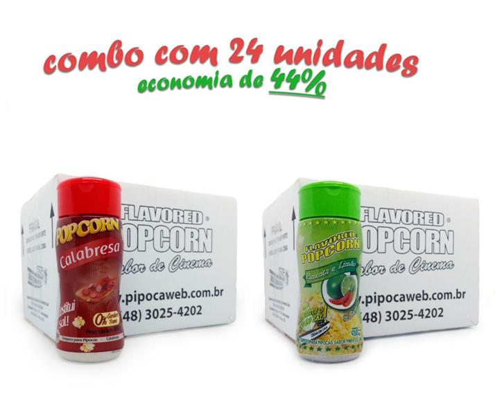 TEMPEROS P/ PIPOCA - Cx 24 FRASCOS - 12 CALABRESA  - 12 PIMENTA E LIMÃO