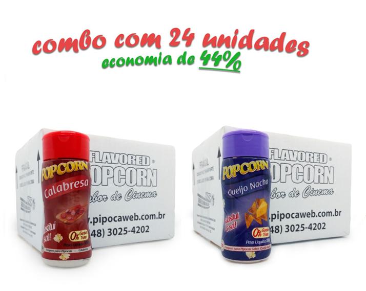 TEMPEROS P/ PIPOCA - Cx 24 FRASCOS - 12 CALABRESA  - 12 QUEIJO NACHO