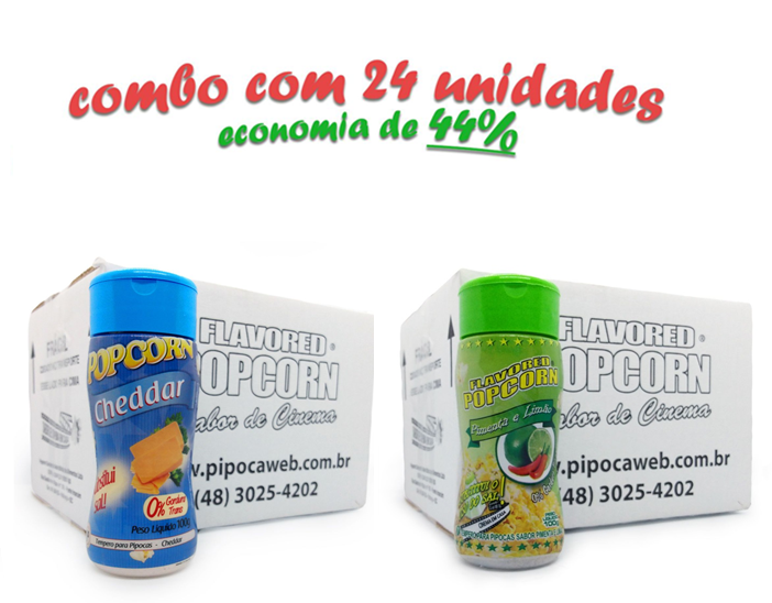 TEMPEROS P/ PIPOCA - Cx 24 FRASCOS - 12 CHEDDAR - 12 PIMENTA E LIMÃO