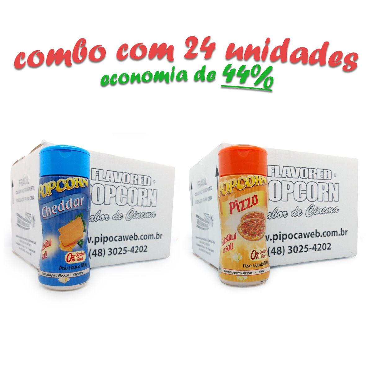 TEMPEROS P/ PIPOCA - CAIXA 24 FRASCOS - 12 CHEDDAR -12 PIZZA