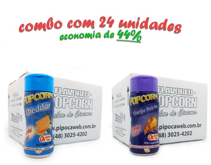 TEMPEROS P/ PIPOCA - Cx 24 FRASCOS - 12 CHEDDAR - 12 QUEIJO NACHO