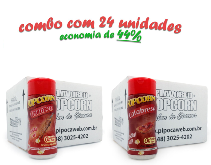 TEMPEROS P/ PIPOCA - CX 24 FRASCOS - 12 CHURRASCO - 12 CALABRESA