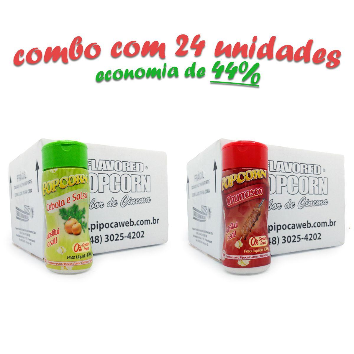 TEMPEROS P/ PIPOCA - CX 24 FRASCOS - 12 CHURRASCO - 12 CEBOLA E SALSA