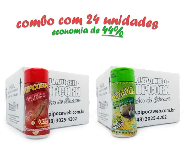 TEMPEROS P/ PIPOCA - CX 24 FRASCOS - 12 CHURRASCO - 12 PARMESÃO E ALHO