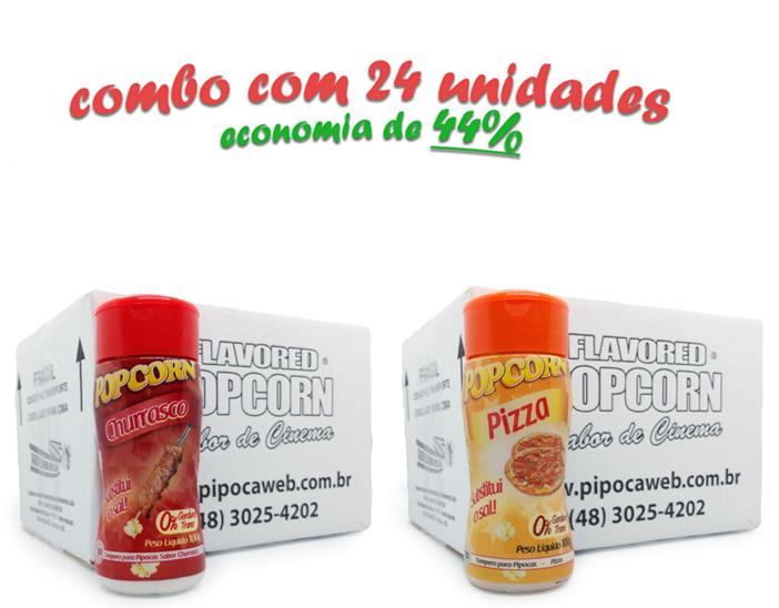 TEMPEROS P/ PIPOCA - CX 24 FRASCOS - 12 CHURRASCO - 12 PIZZA