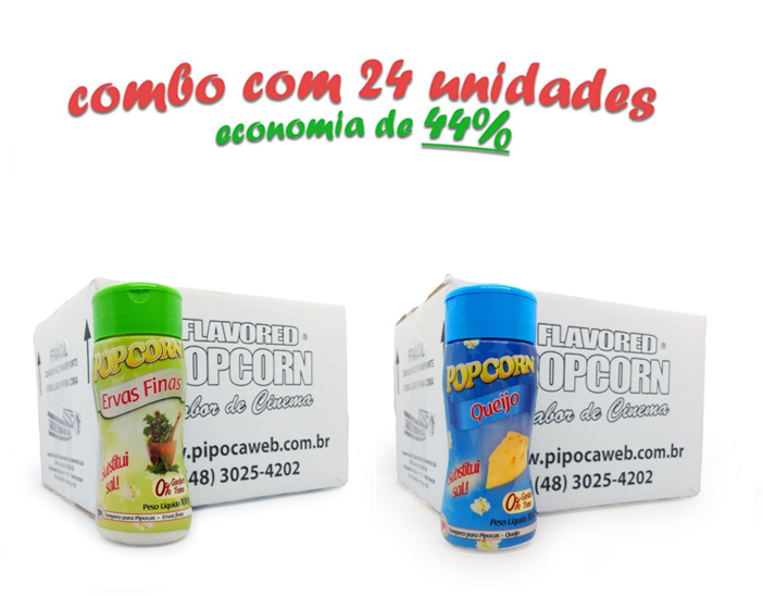 TEMPEROS P/ PIPOCA - Cx 24 FRASCOS - 12 ERVAS FINAS  - 12 QUEIJO
