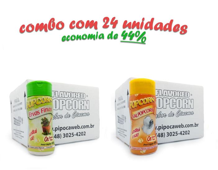 TEMPEROS P/ PIPOCA - Cx 24 FRASCOS - 12 ERVAS FINAS  - 12 SAL POPCORN