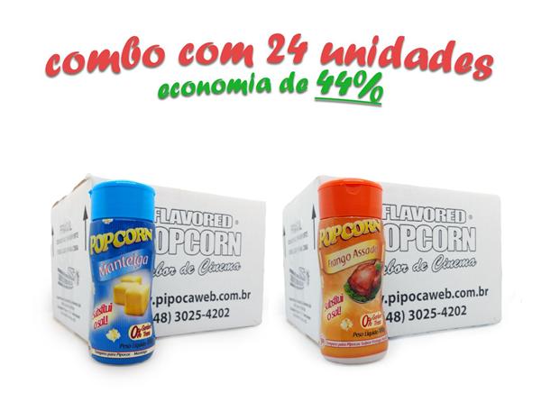 TEMPEROS P/ PIPOCA - Cx 24 FRASCOS - 12 MANTEIGA - 12 FRANGO ASSADO