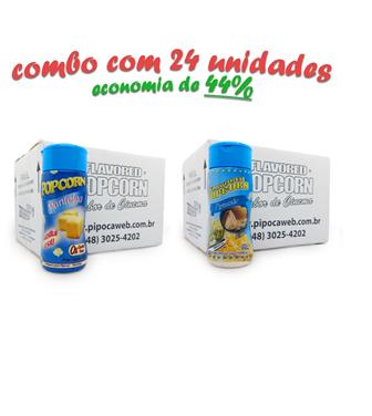 TEMPEROS P/ PIPOCA - Cx 24 FRASCOS - 12 MANTEIGA - 12 PARMESÃO