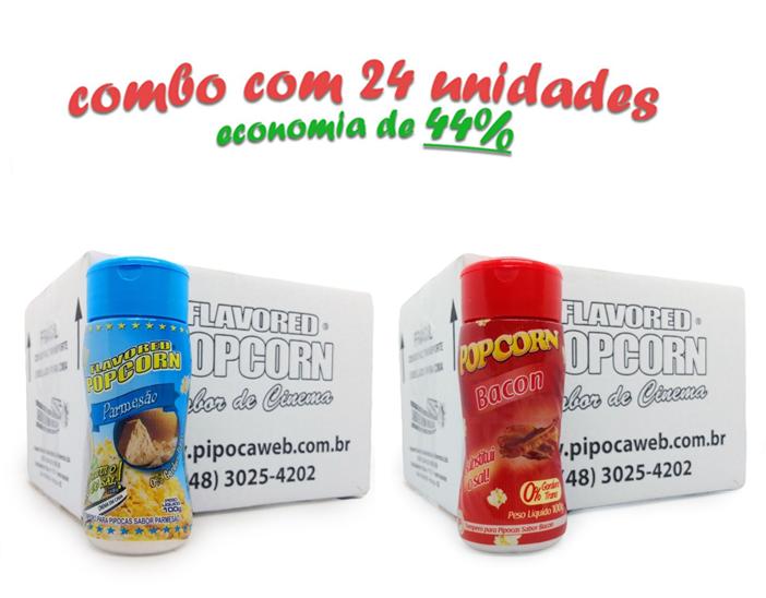 TEMPEROS P/ PIPOCA - Cx 24 FRASCOS - 12 PARMESÃO - 12 BACON