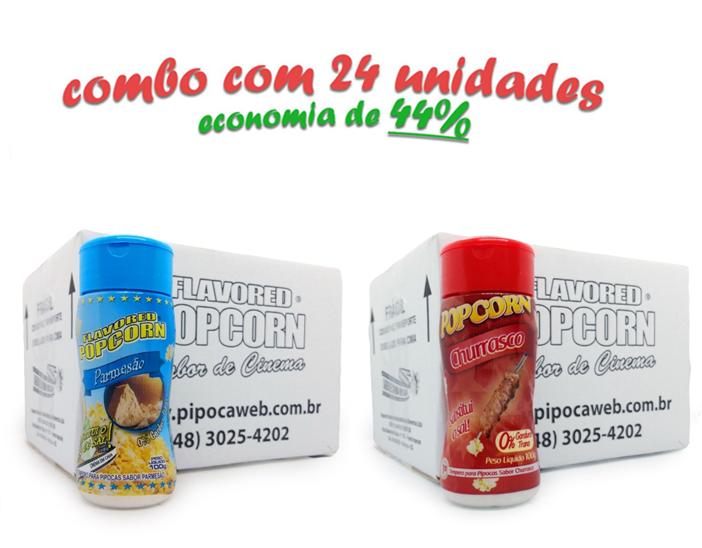 TEMPEROS P/ PIPOCA - Cx 24 FRASCOS - 12 PARMESÃO - 12 CHURRASCO
