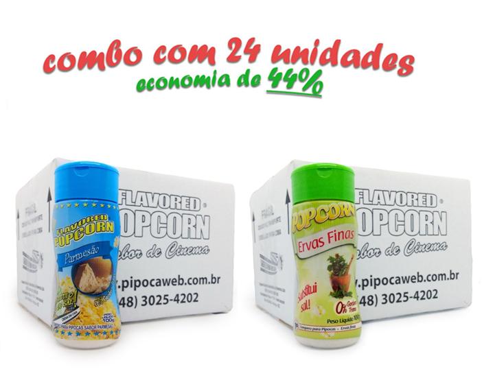 TEMPEROS P/ PIPOCA - Cx 24 FRASCOS - 12 PARMESÃO - 12 ERVAS FINAS
