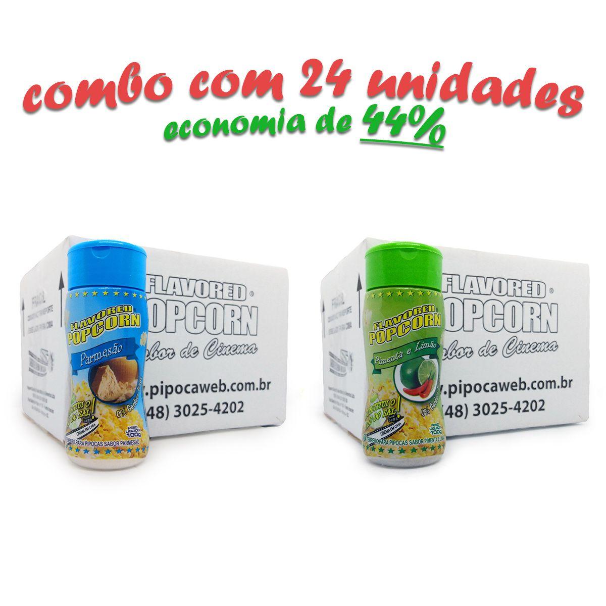 TEMPEROS P/ PIPOCA - Cx 24 FRASCOS - 12 PARMESÃO - 12 PIMENTA E LIMÃO