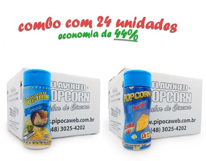TEMPEROS P/ PIPOCA - Cx 24 FRASCOS - 12 PARMESÃO - 12 QUEIJO