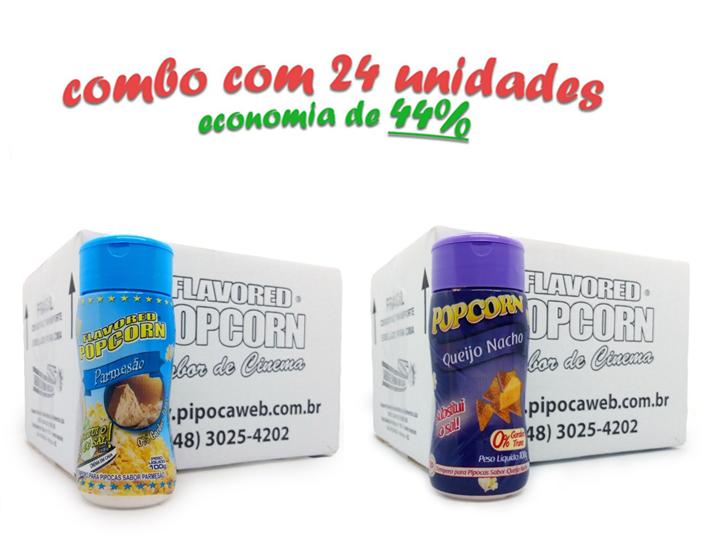 TEMPEROS P/ PIPOCA - Cx 24 FRASCOS - 12 PARMESÃO - 12 QUEIJO NACHO
