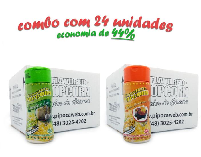 TEMPEROS P/ PIPOCA - Cx 24 FRASCOS - 12 PARMESÃO E ALHO - 12 MOLHO MEXICANO