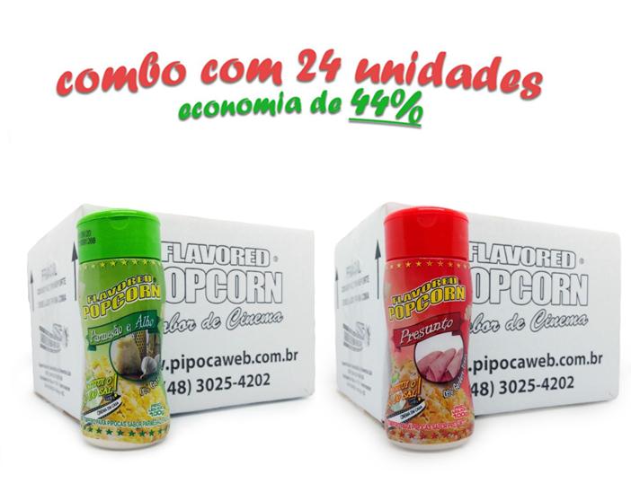 TEMPEROS P/ PIPOCA - Cx 24 FRASCOS - 12 PARMESÃO E ALHO - 12 PRESUNTO