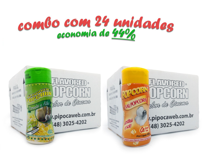 TEMPEROS P/ PIPOCA - Cx 24 FRASCOS - 12 PARMESÃO E ALHO - 12 SAL POPCORN