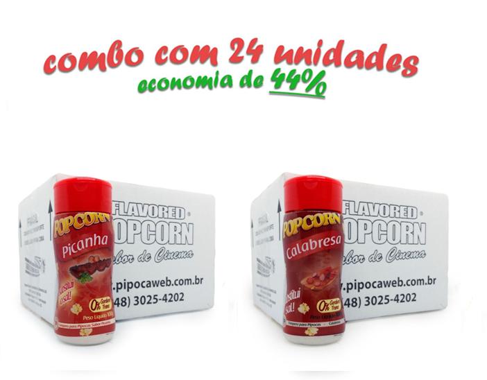 TEMPEROS P/ PIPOCA - Cx 24 FRASCOS - 12 PICANHA - 12 CALABRESA