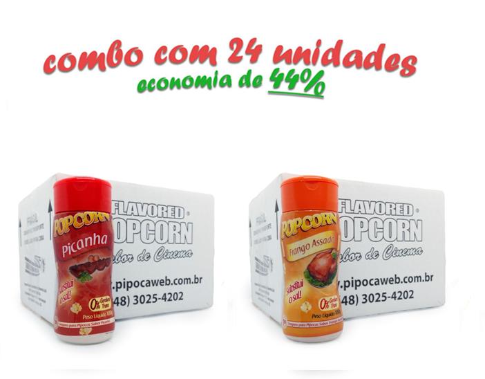 TEMPEROS P/ PIPOCA - Cx 24 FRASCOS - 12 PICANHA - 12 FRANGO ASSADO
