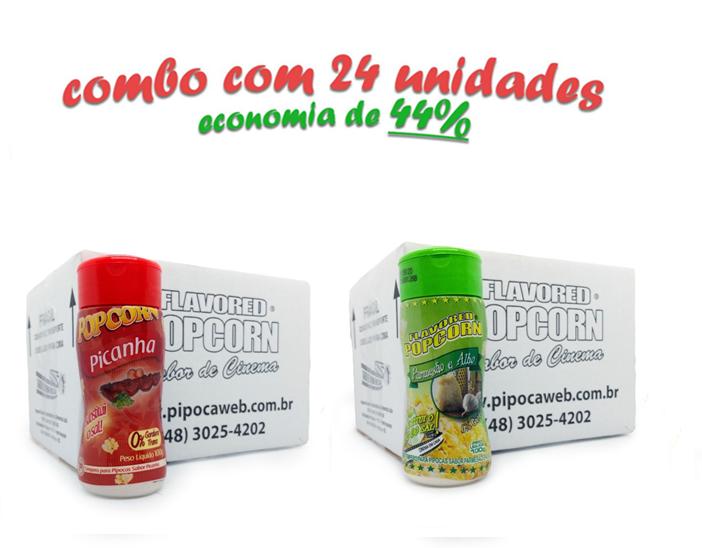 TEMPEROS P/ PIPOCA - Cx 24 FRASCOS - 12 PICANHA - 12 PARMESÃO E ALHO