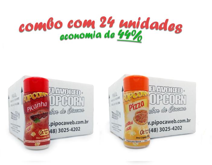 TEMPEROS P/ PIPOCA - Cx 24 FRASCOS - 12 PICANHA - 12 PIZZA