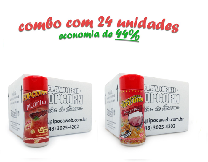 TEMPEROS P/ PIPOCA - Cx 24 FRASCOS - 12 PICANHA - 12 PRESUNTO