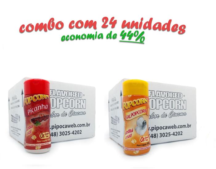 TEMPEROS P/ PIPOCA - Cx 24 FRASCOS - 12 PICANHA - 12 SAL POPCORN