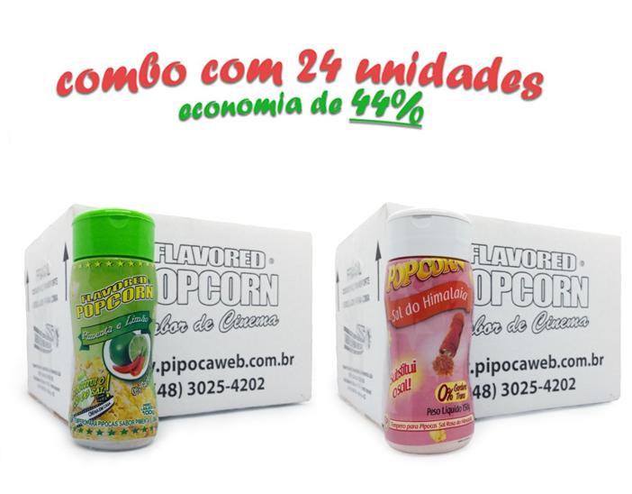 TEMPEROS P/ PIPOCA - Cx 24 FRASCOS - 12 PIMENTA E LIMÃO - 12 SAL DO HIMALAIA