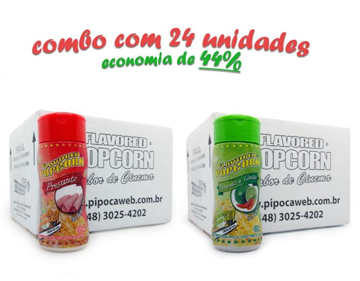 TEMPEROS P/ PIPOCA - Cx 24 FRASCOS - 12 PRESUNTO - 12 PIMENTA E LIMÃO