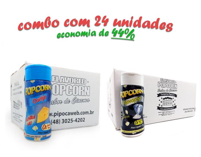 TEMPEROS P/ PIPOCA - Cx 24 FRASCOS - 12 QUEIJO - 12 FLAVAPOP MANTEIGA